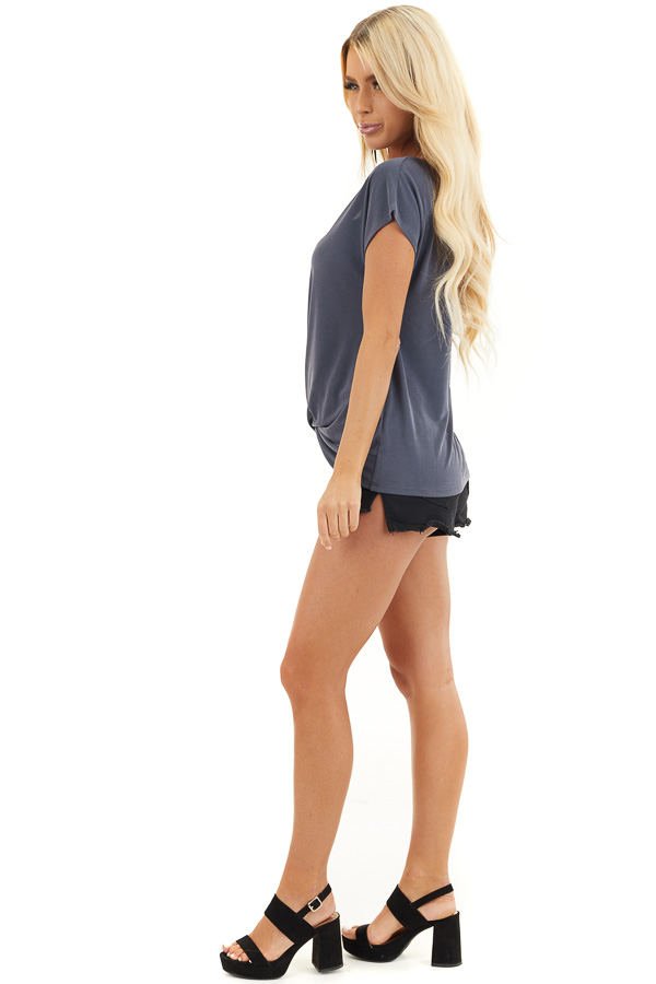 Stormy Blue V Neck Knit Top with Front Twist Detail side full body