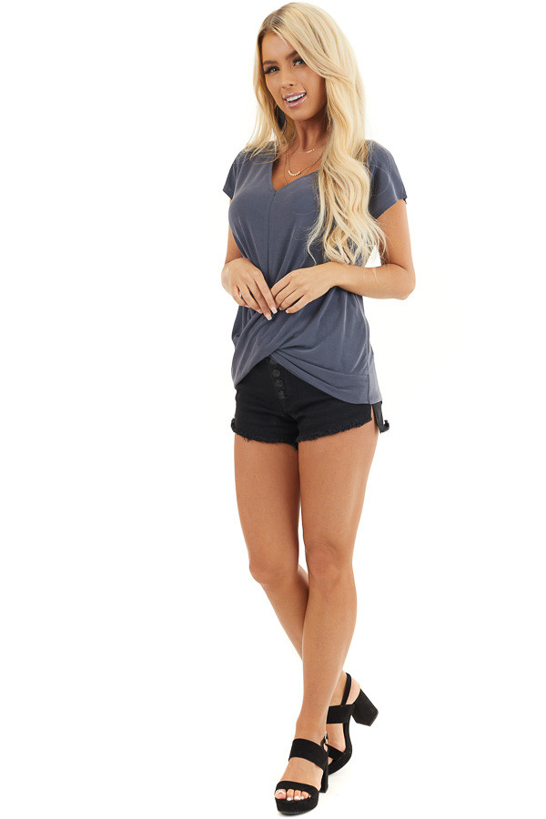 Stormy Blue V Neck Knit Top with Front Twist Detail front full body