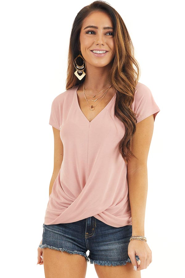 Dusty Coral V Neck Knit Top with Front Twist Detail front close up