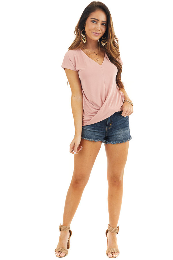 Dusty Coral V Neck Knit Top with Front Twist Detail front full body