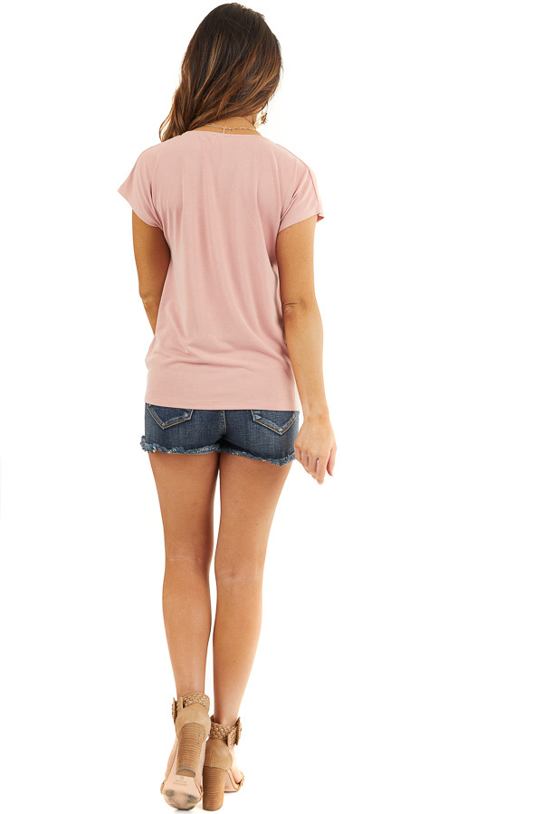 Dusty Coral V Neck Knit Top with Front Twist Detail back full body
