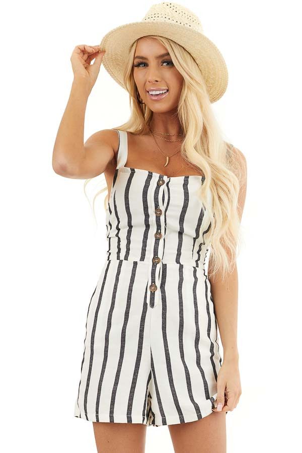 Cream and Black Striped Sleeveless Romper with Open Back Tie front close up