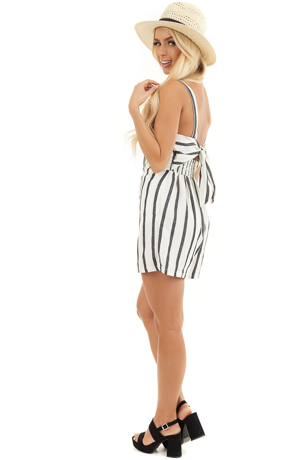 Cream and Black Striped Sleeveless Romper with Open Back Tie side full body