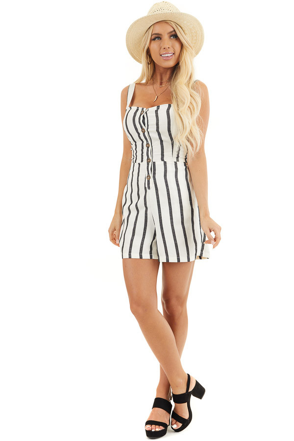Cream and Black Striped Sleeveless Romper with Open Back Tie front full body