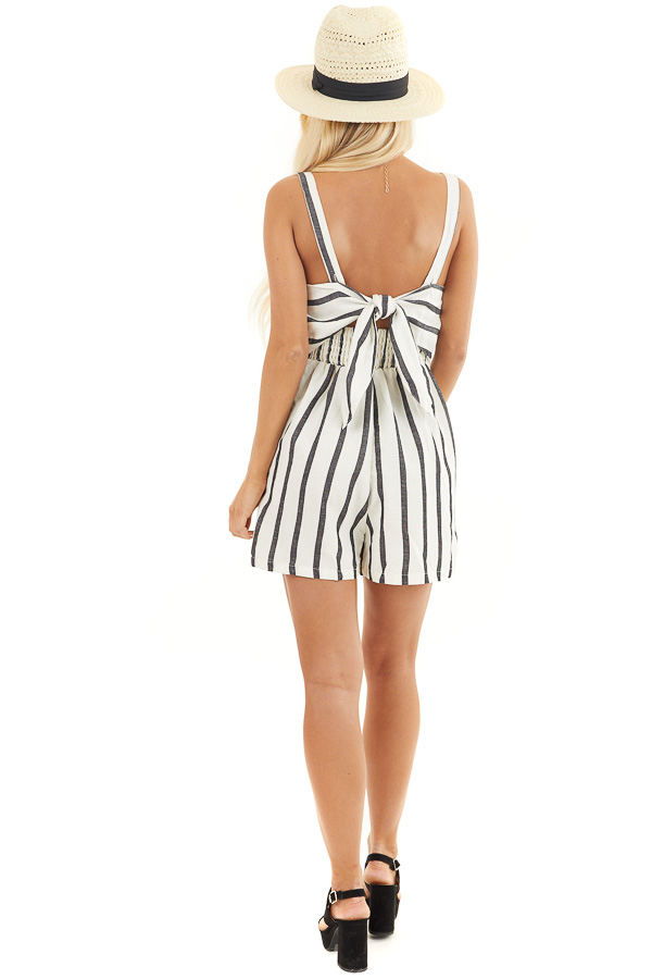 Cream and Black Striped Sleeveless Romper with Open Back Tie back full body