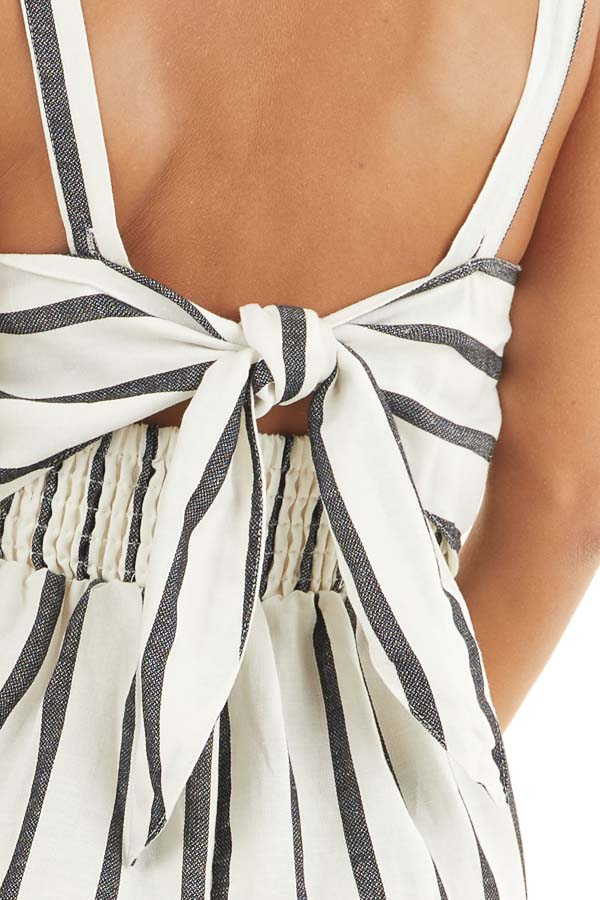 Cream and Black Striped Sleeveless Romper with Open Back Tie detail