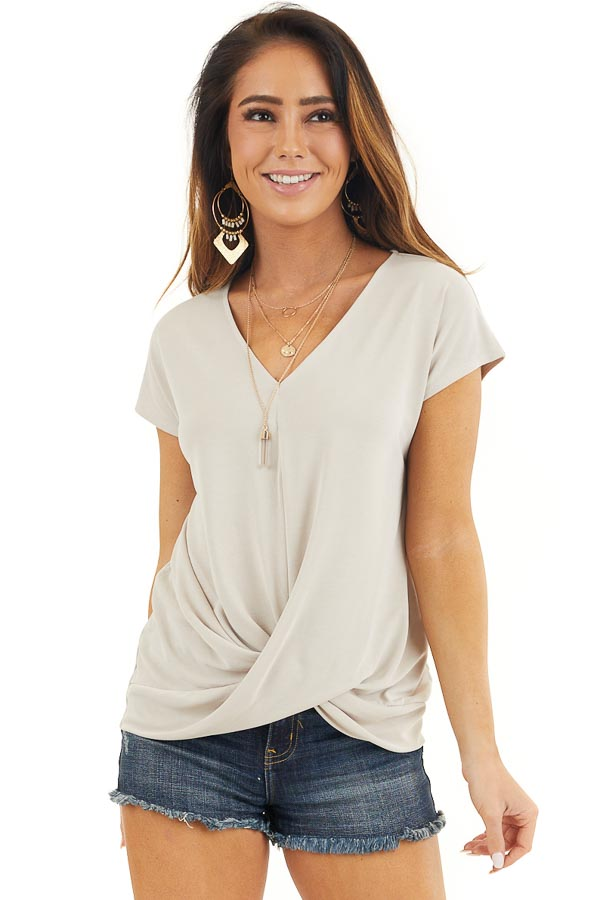 Oatmeal V Neck Knit Top with Front Twist Detail front close up