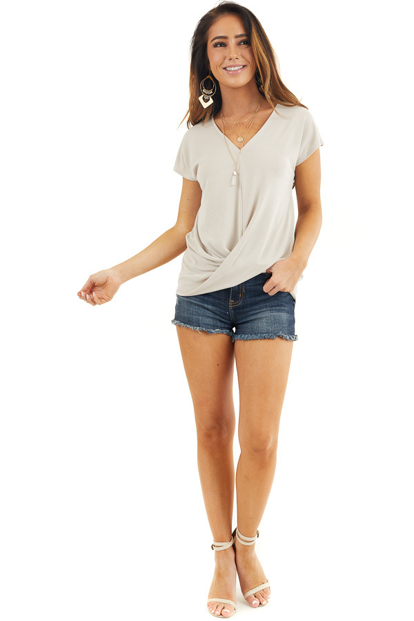 Oatmeal V Neck Knit Top with Front Twist Detail front full body