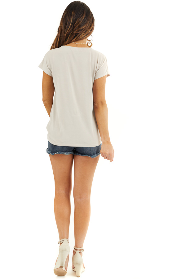 Oatmeal V Neck Knit Top with Front Twist Detail back full body