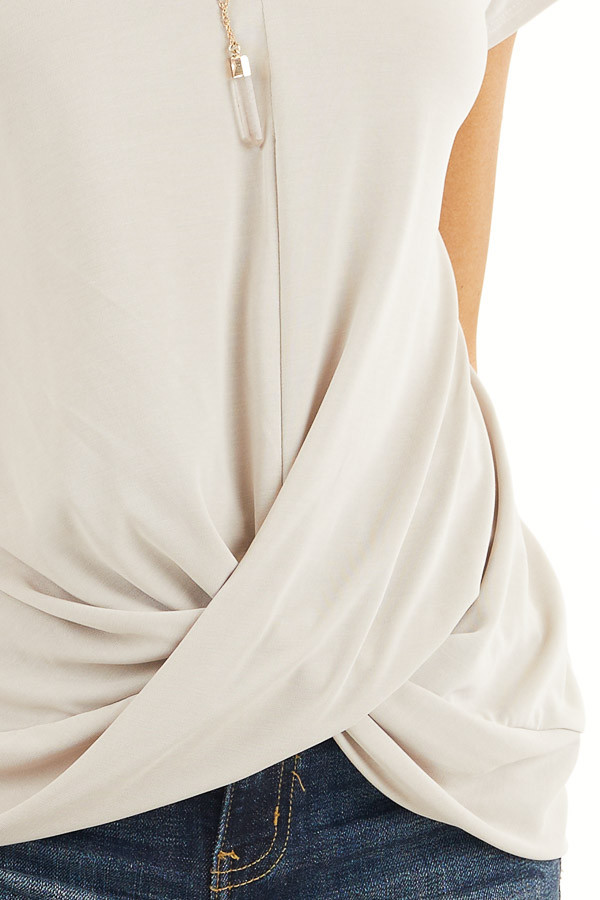 Oatmeal V Neck Knit Top with Front Twist Detail detail