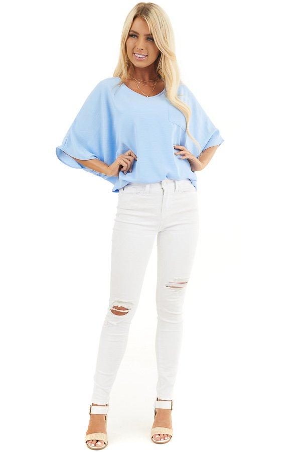 Powder Blue Oversized V Neck Top with High Low Hemline front full body