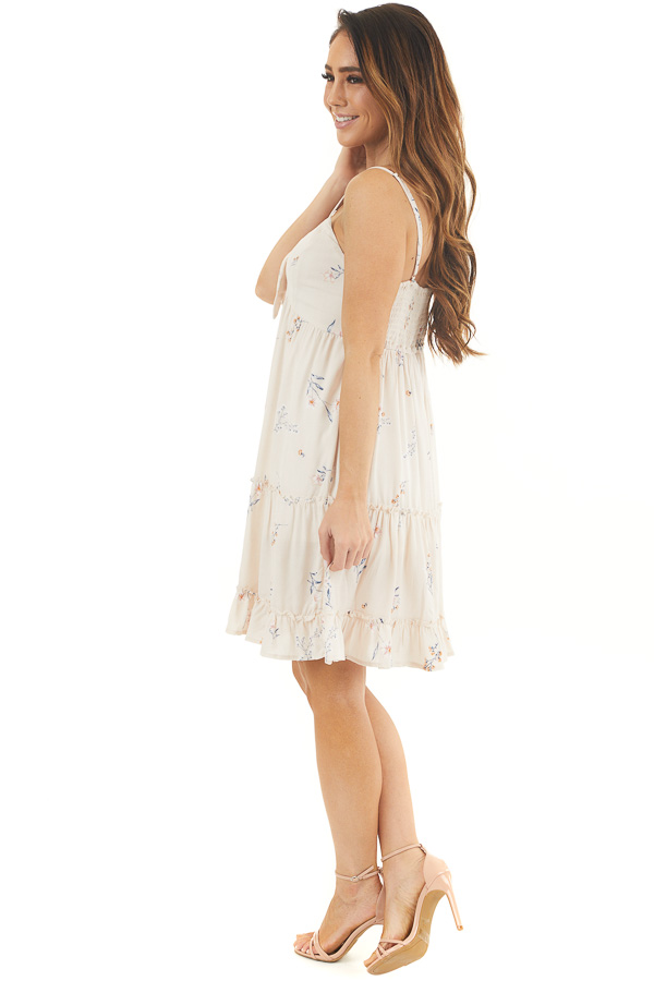 Cream Floral Spaghetti Strap Dress with Front Tie Detail side full body
