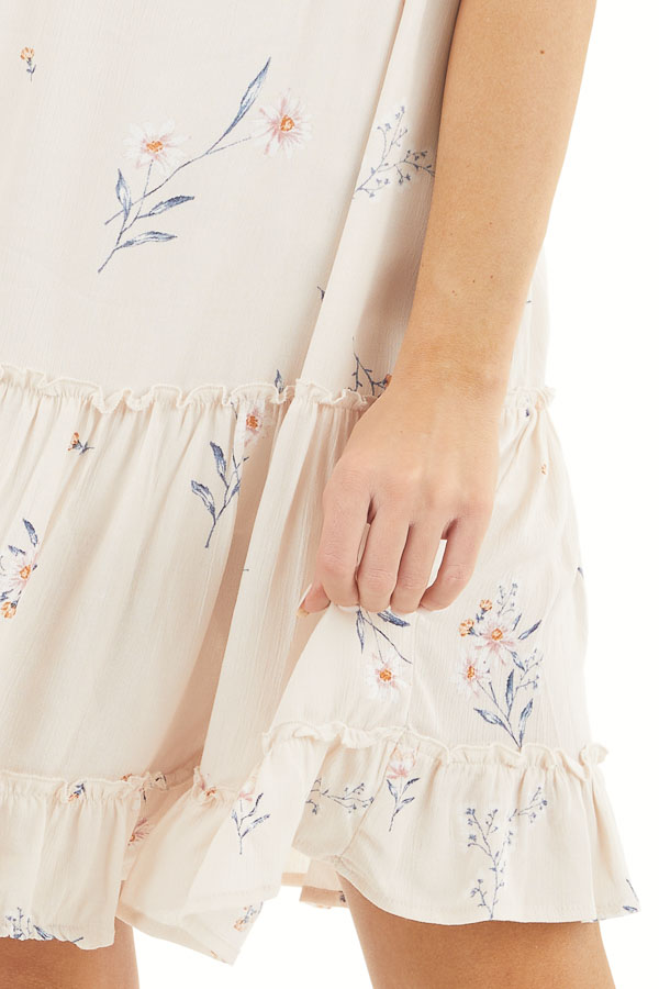 Cream Floral Spaghetti Strap Dress with Front Tie Detail detail