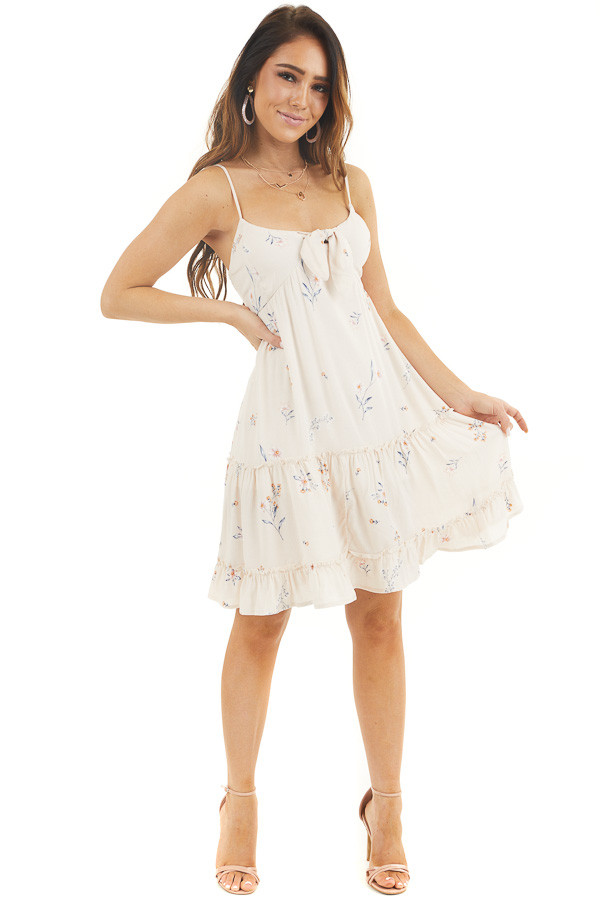 Cream Floral Spaghetti Strap Dress with Front Tie Detail front full body