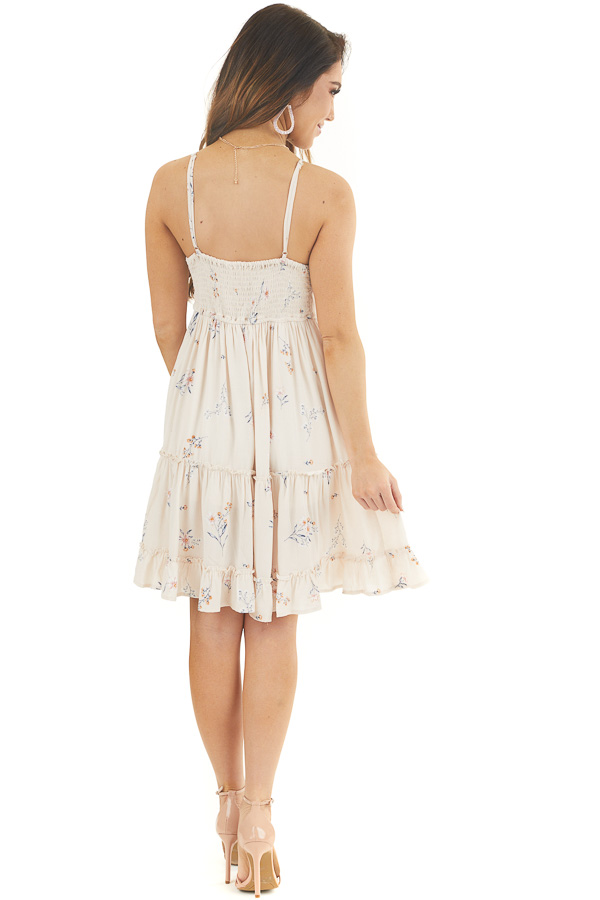 Cream Floral Spaghetti Strap Dress with Front Tie Detail back full body
