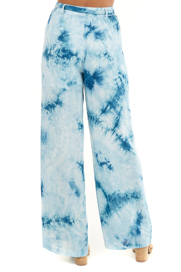 Teal and Off White Tie Dye Wide Leg Pants with Belted Detail back view