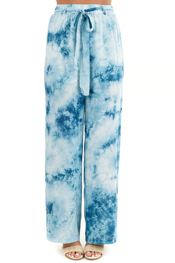 Teal and Off White Tie Dye Wide Leg Pants with Belted Detail front view
