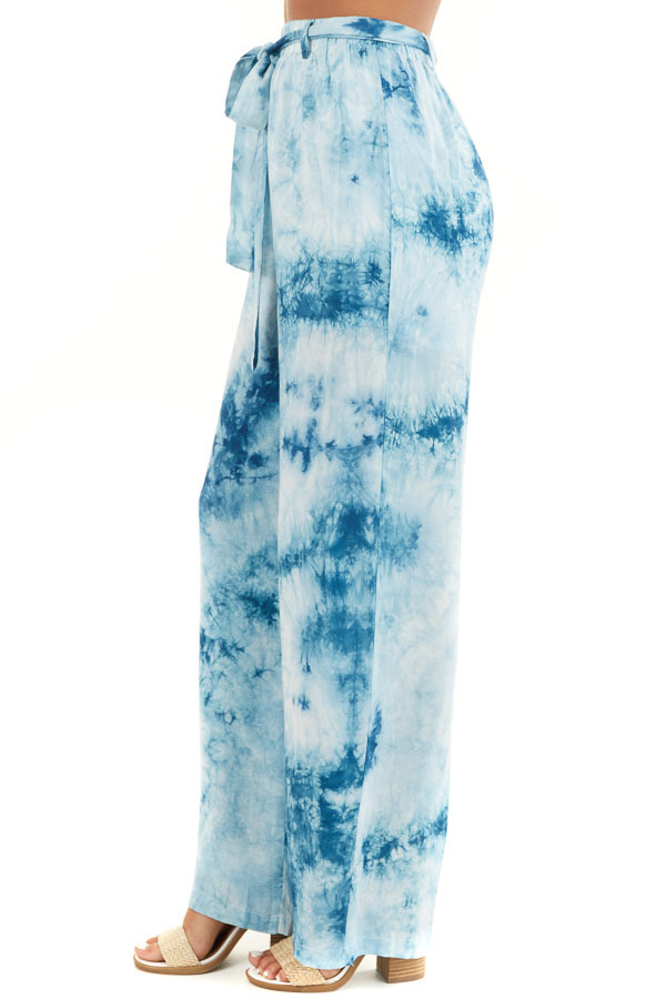 Teal and Off White Tie Dye Wide Leg Pants with Belted Detail side view