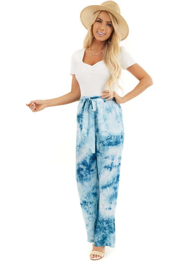 Teal and Off White Tie Dye Wide Leg Pants with Belted Detail front full body