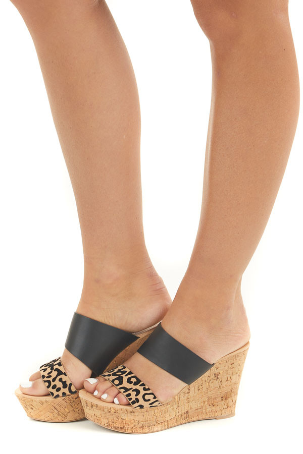 Black and Leopard Print Double Strap Cork Wedge Sandals