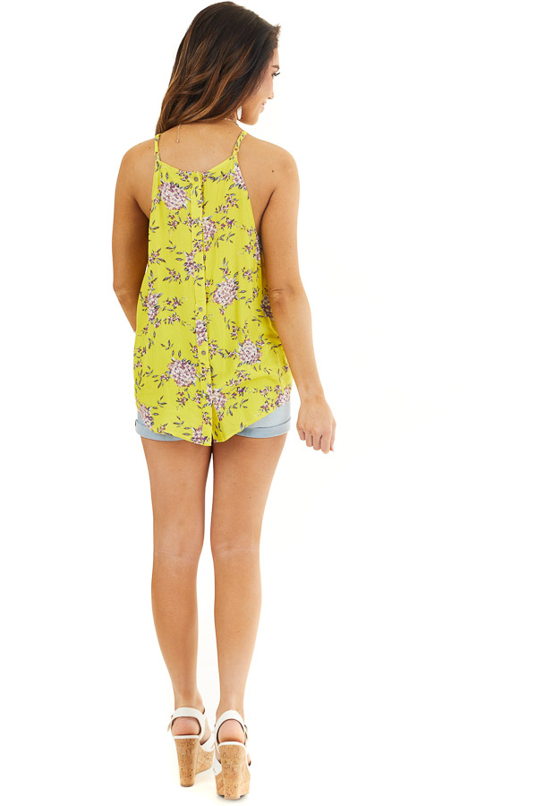 Sunshine Floral High Neck Tank Top with Button Up Back back full body