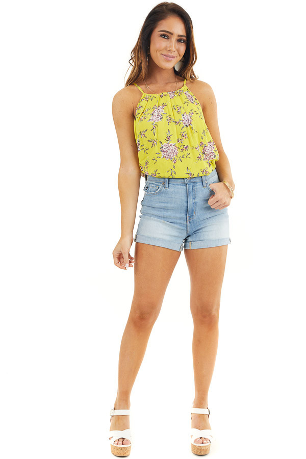 Sunshine Floral High Neck Tank Top with Button Up Back front full body