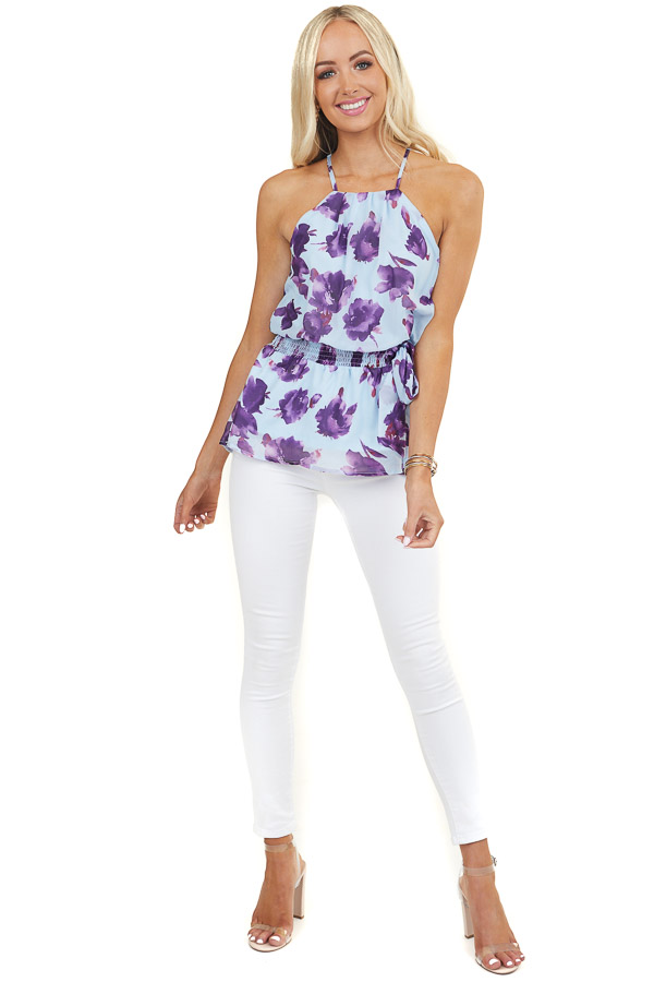 Blue and Purple Floral Print Peplum Top with Smocked Waist