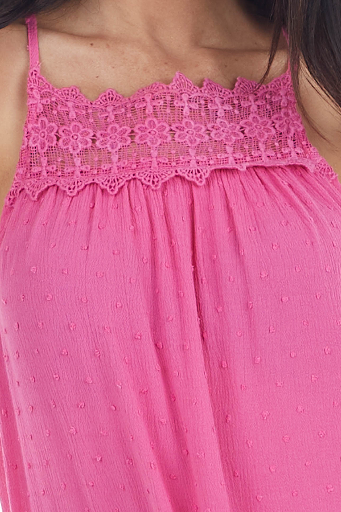 Hot Pink Swiss Dot Tank Top with Floral Crocheted Lace Neck