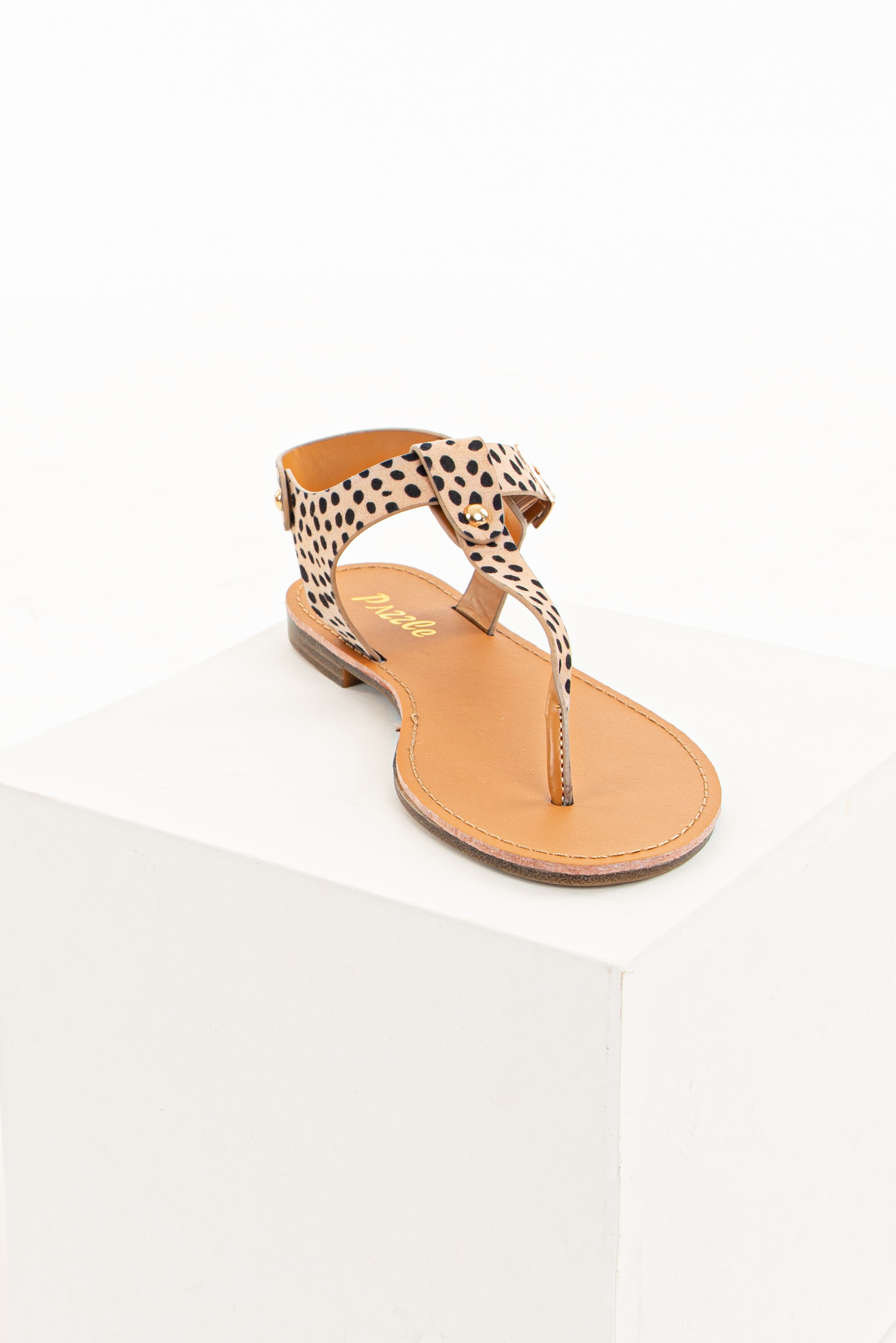 Tan Cheetah Print Sandals with Gold Stud Details and Buckle