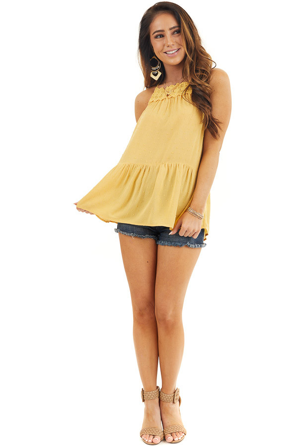 Marigold Swiss Dot Tank Top with Floral Crocheted Lace Neck front full body