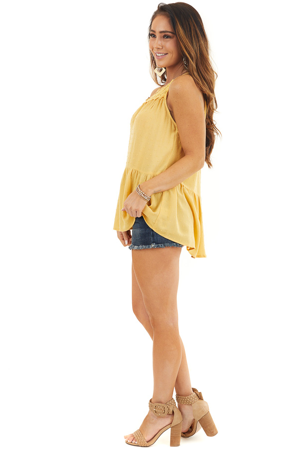 Marigold Swiss Dot Tank Top with Floral Crocheted Lace Neck side full body