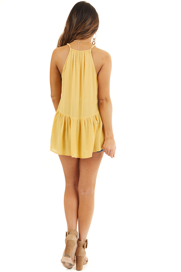 Marigold Swiss Dot Tank Top with Floral Crocheted Lace Neck back full body