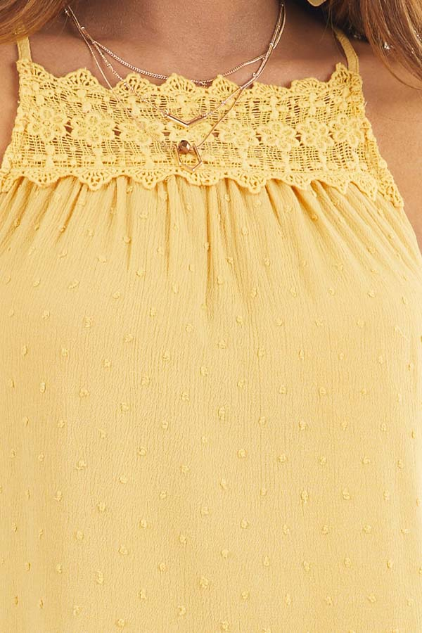 Marigold Swiss Dot Tank Top with Floral Crocheted Lace Neck detail
