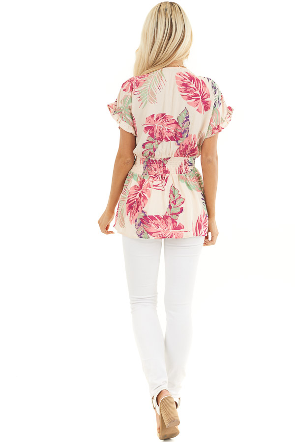 Pale Peach Tropical Print Surplice Top with Dropped Waist back full body