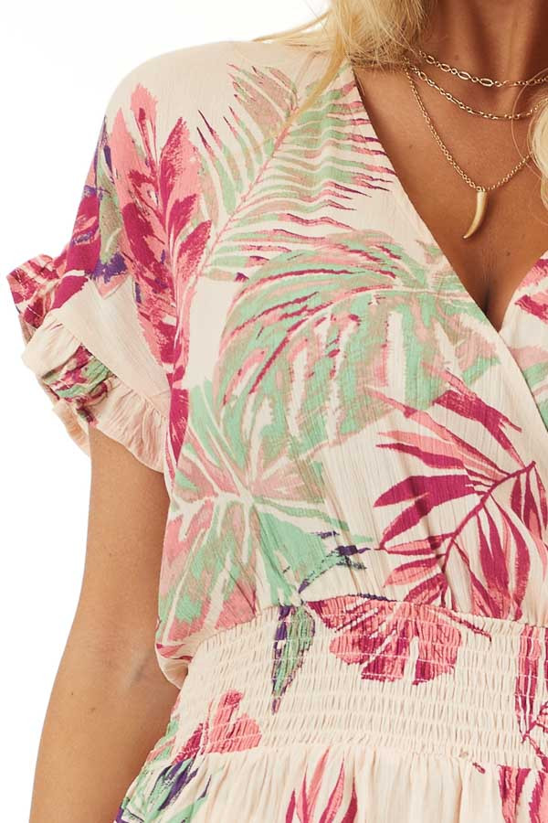 Pale Peach Tropical Print Surplice Top with Dropped Waist detail