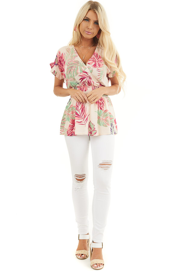 Pale Peach Tropical Print Surplice Top with Dropped Waist front full body