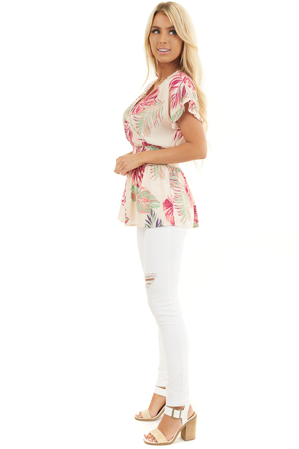Pale Peach Tropical Print Surplice Top with Dropped Waist side full body