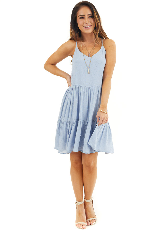 Powder Blue Swiss Dot Dress with Tiered Skirt and V Neckline front full body