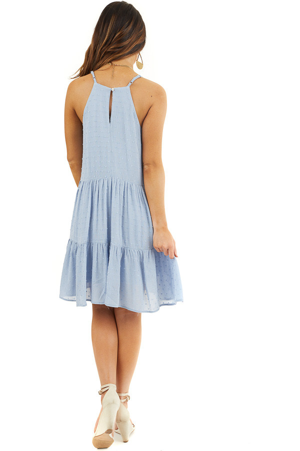 Powder Blue Swiss Dot Dress with Tiered Skirt and V Neckline back full body