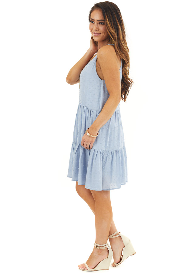 Powder Blue Swiss Dot Dress with Tiered Skirt and V Neckline side full body