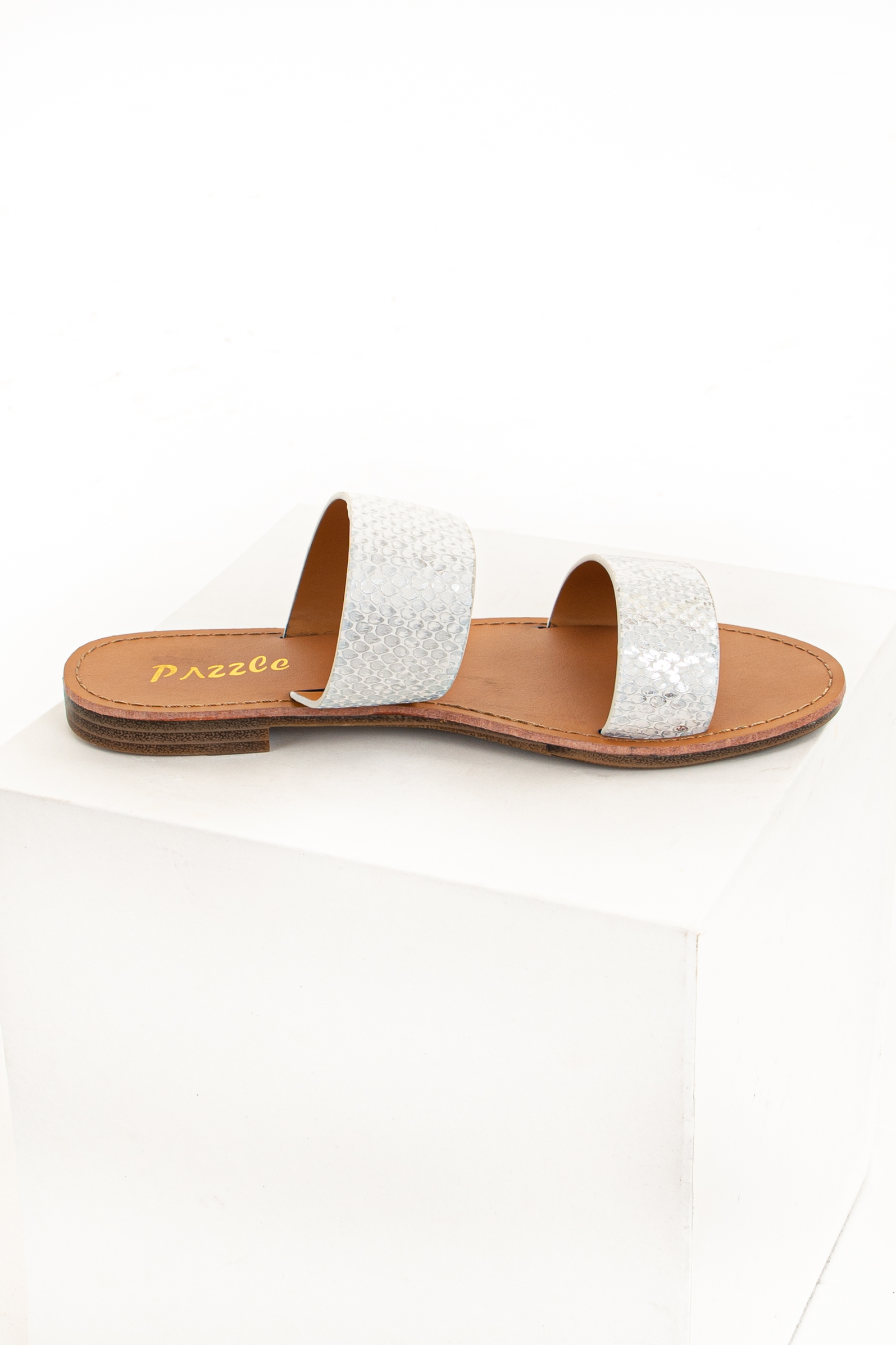 White and Silver Snakeskin Double Strap Slip On Sandals