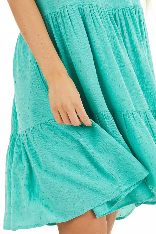 Seafoam Swiss Dot Dress with Tiered Skirt and V Neckline detail