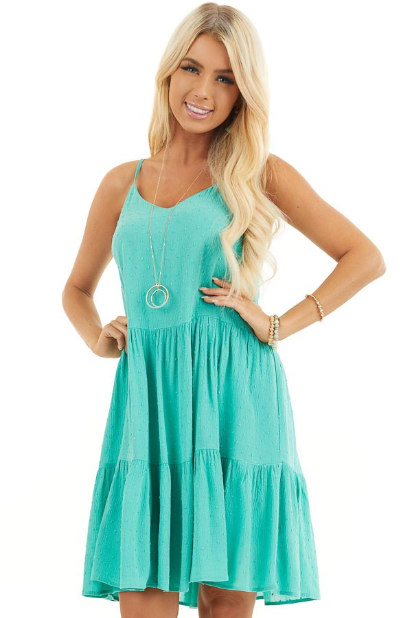 Seafoam Swiss Dot Dress with Tiered Skirt and V Neckline front close up