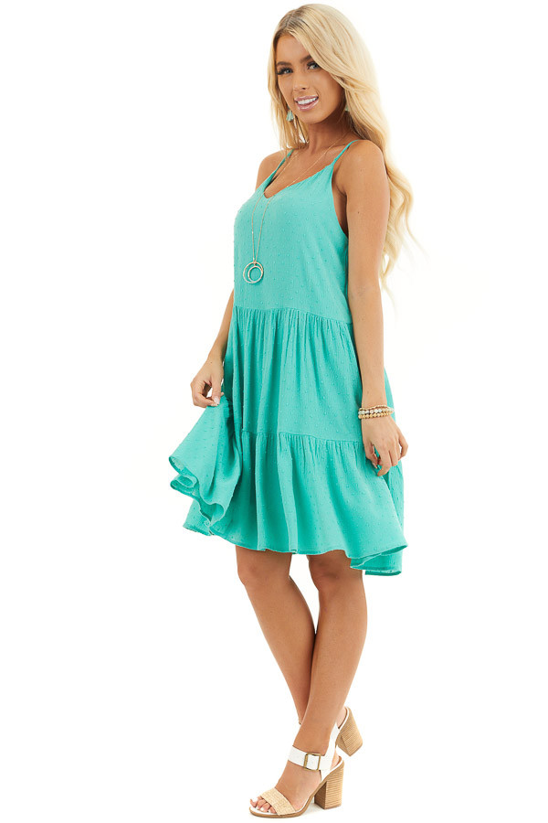 Seafoam Swiss Dot Dress with Tiered Skirt and V Neckline side full body