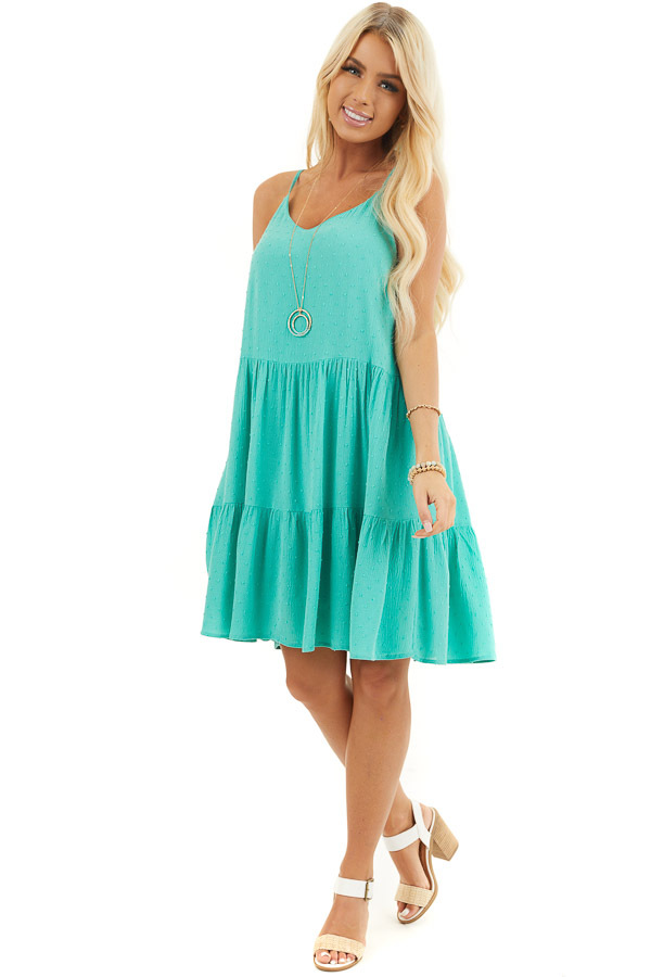 Seafoam Swiss Dot Dress with Tiered Skirt and V Neckline front full body