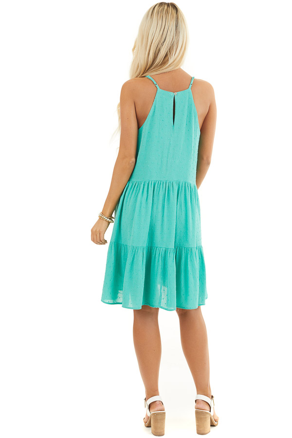 Seafoam Swiss Dot Dress with Tiered Skirt and V Neckline back full body