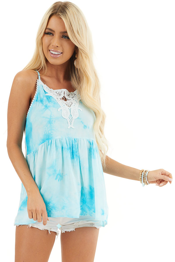 Sky Blue Tie Dye Woven Tank Top with Crochet Neck Detail front close up