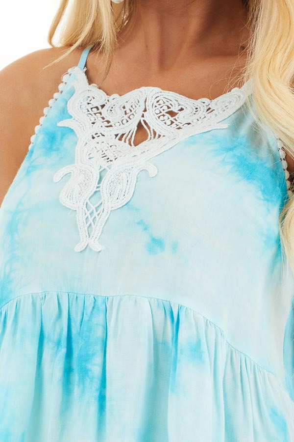Sky Blue Tie Dye Woven Tank Top with Crochet Neck Detail detail