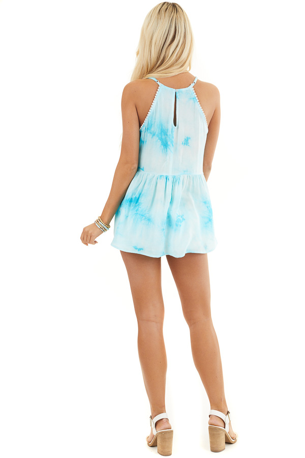 Sky Blue Tie Dye Woven Tank Top with Crochet Neck Detail back full body