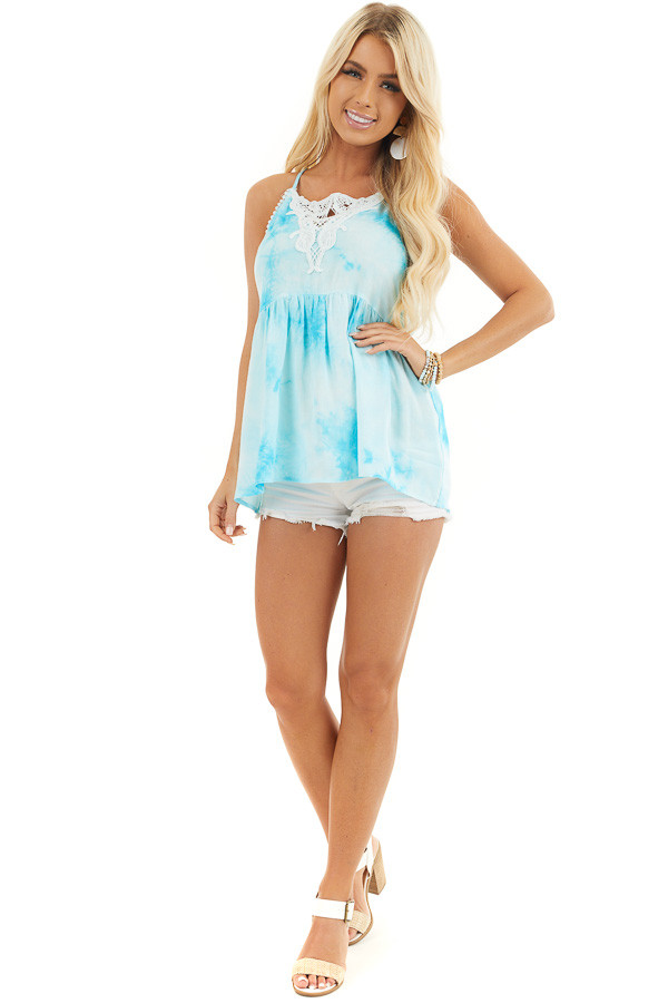 Sky Blue Tie Dye Woven Tank Top with Crochet Neck Detail front full body